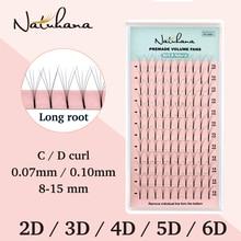 NATUHANA 2D-6D Premade Volume Fans Long Stem False Lashes Korea Silk Individual Eyelash Extension Handmade Natural Mink