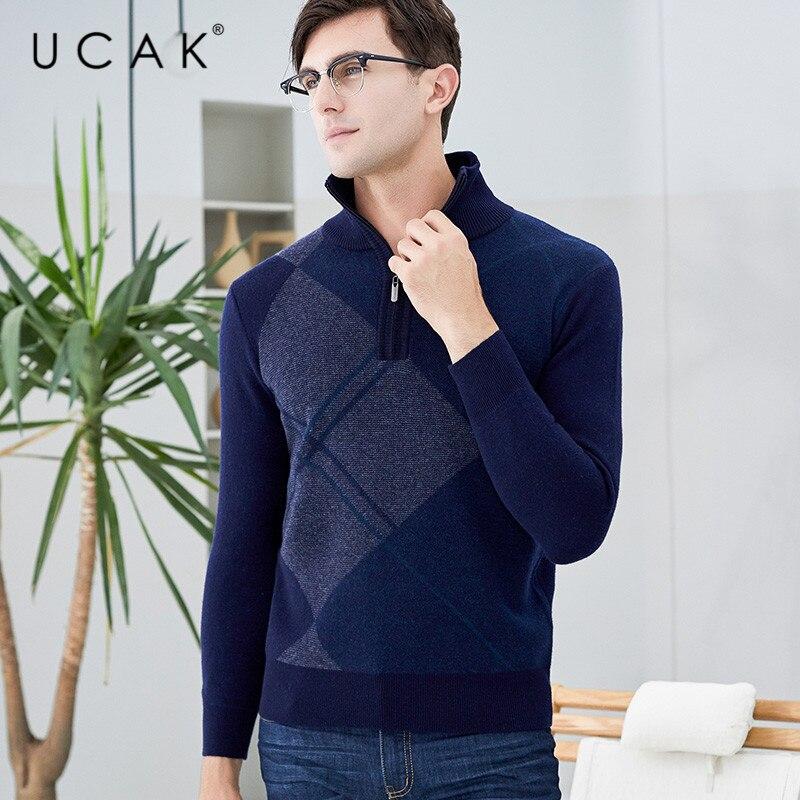 UCAK Brand Pure Merino Wool Sweater 2019 New Arrival Casual Zipper Warm Winter Streetwear Pull Homme Pullover Sweaters U3125