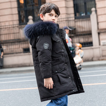 Boys Winter Coat Parka Down-Jacket Teenage Long Outerwear Hooded Warm 5-14-Years Kids