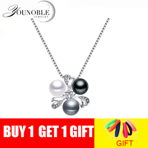 Real 925 Silver Pendant With Pearl Women,colorful Real Natural Freshwater Pearl Necklace Girl Birthday Gift