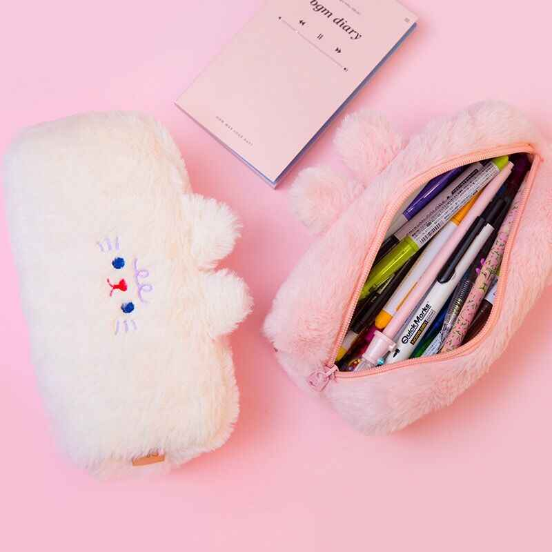 Bentoy MIlkjoy Flannel Soft Cute Beer Pencil Case Girls Make up coin purse School Student Pen Bag Winter PLush