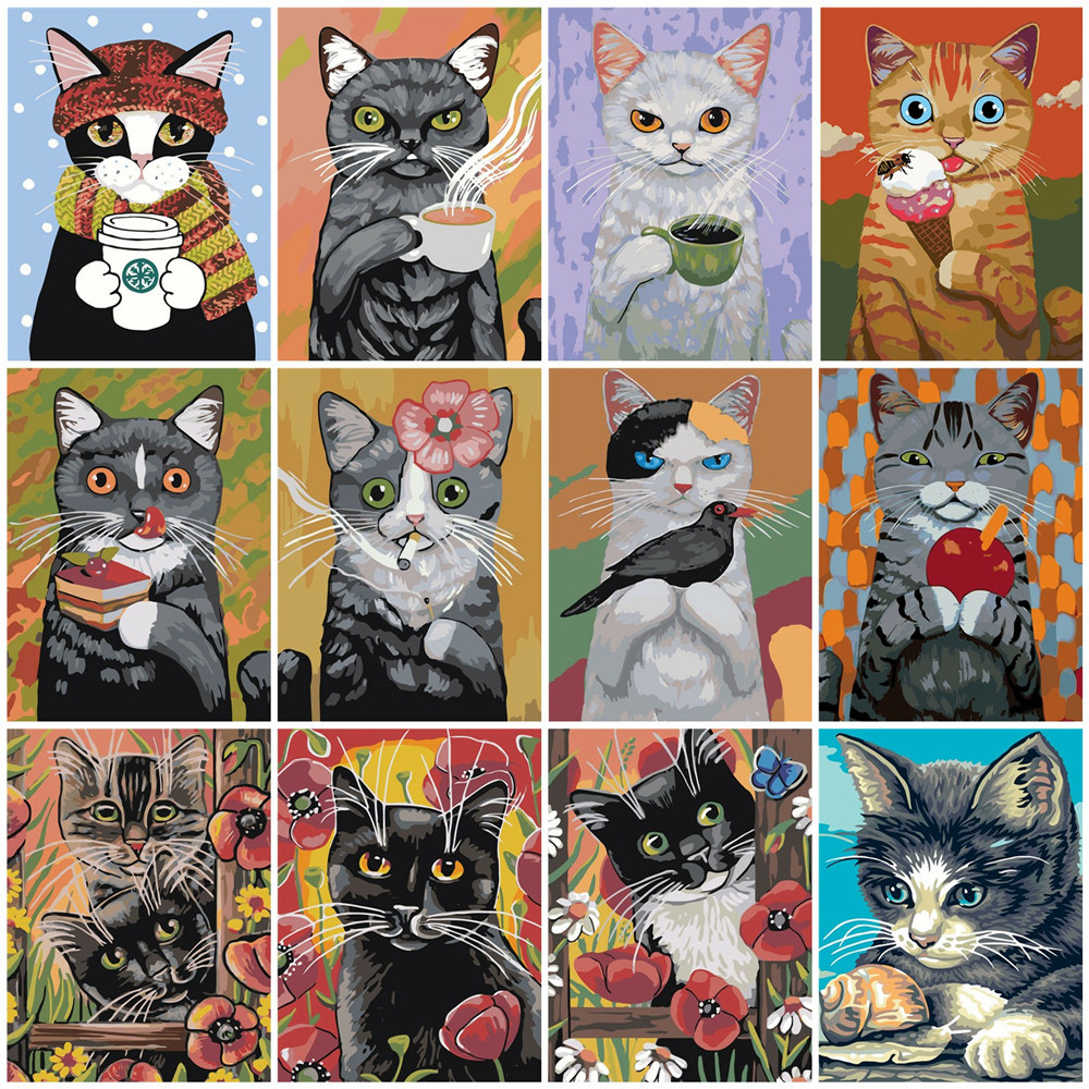 HUACAN Oil Painting By Numbers Cat Animals HandPainted Kits Drawing Canvas Pictures DIY Home Decoration Cartoon Gift