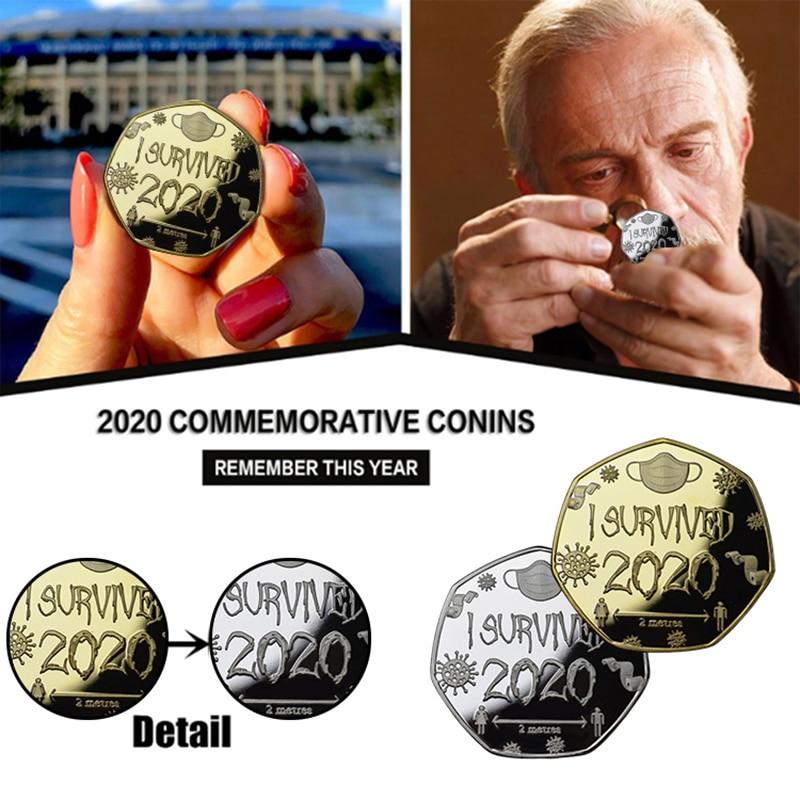Eu sobrevivi 2020 medalha e coleção de moedas comemorativas lembrança presente moedas colecionáveis memórias do passado moeda comemorativa
