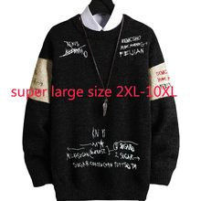 New Arrival Fashion Cotton Extra Large Loose Elastic Men Casual O-neck Computer Knitted Pullovers Sweater Plus Size 2XL-9XL 10XL(China)