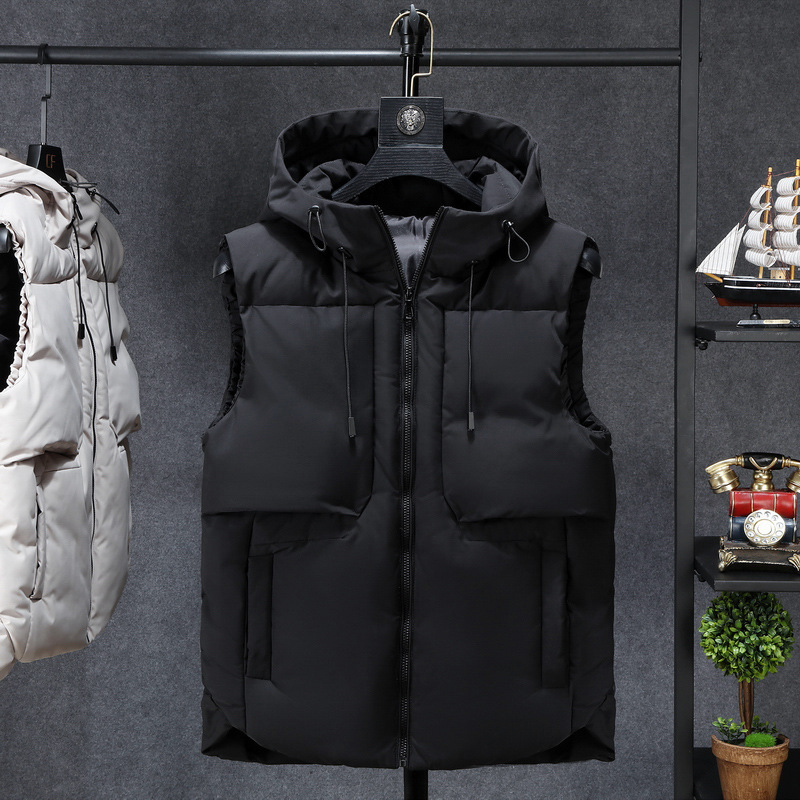 Winter Thick Hooded Vest Men Warm Large Size Zipper Waistcoat Black Beige Pockets Casual Loose Mens Sleeveless Jackets YT80247