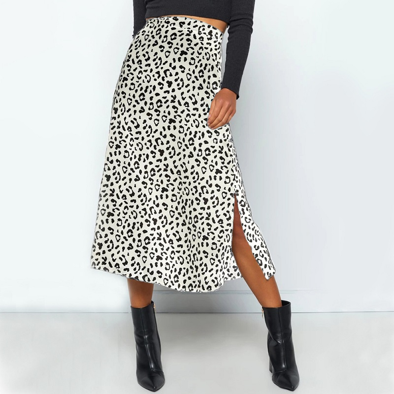 Summer Women Vintage Elegant Beach Midi Boho Skirt 2020 Women Leopard Print Split Sexy Zip Skirts Womens Casual Skirts Female