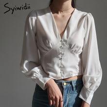Syiwidii – chemise et chemisier en Satin pour femmes, vêtements de mode coréenne, Vintage, manches longues, lanterne, printemps, blanc, bureau