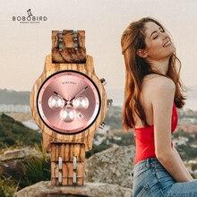 BOBO BIRD montres à Quartz Simple en bois, mouvement pour femmes, horloge personnalisée, cadeau idéal avec boîte en bois, collection B P18