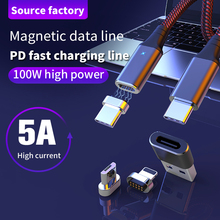 цена на 4 in1 Magnetic USB PD Cable Type C Micro 4 usb to USB Adapter USB-C 5A Fast charging Data Transfer Cable for MacBook Pro Samsung
