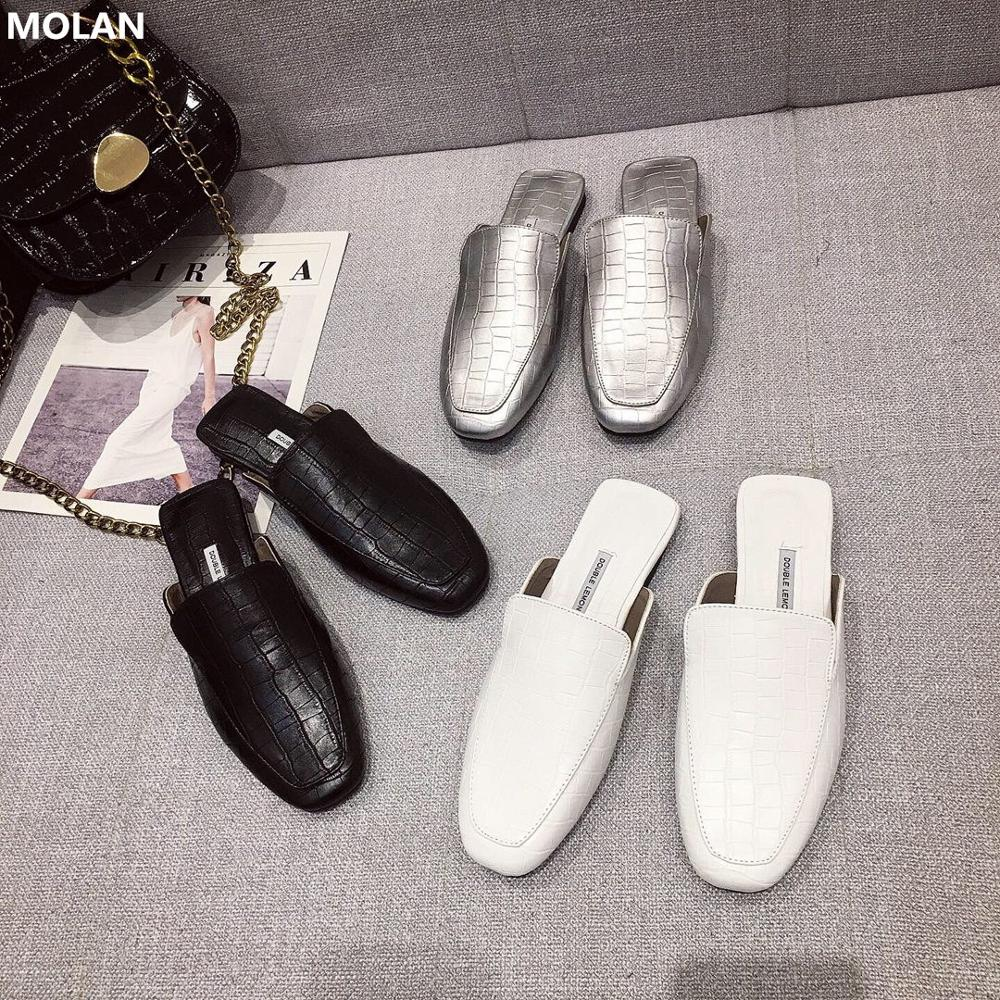 MOLAN Brand Designers 2020 Spring Luxury Black White Sliver Crocodile Pattern Leather Flat Leather Slippers Loafers Mules 35-40