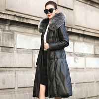 Jacket Women Winter Genuine Leather Jacket Womens Duck Down Jacket Fox Fur Collar Plus Size Long Overcoat Sheepskin Coat Q110