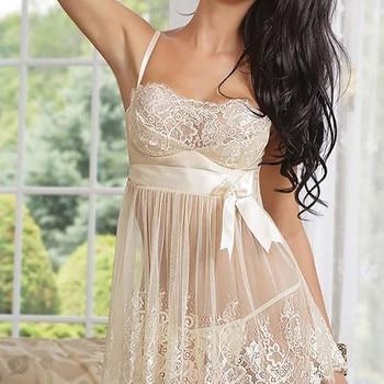 Lingerie set Women Lingerie Babydoll Bowknot Sleepwear Underwear Lace Dress + G-string комплект белья женский пижама женская фото