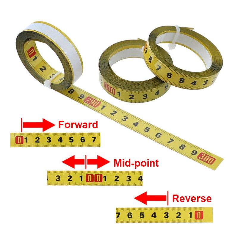 Cinta métrica de acero, cinta métrica de 0,5 pulgadas, regla autoadhesiva, cinta de 1-5M para enrutador Sierra de mesa herramienta de carpintería de pista T
