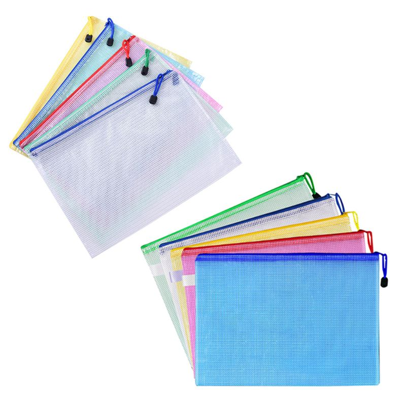 10pcs 5 Colors A4 Size Mesh Document File Bags Storage Pouch With Zipper For  Offices Supplies Travel Accessories