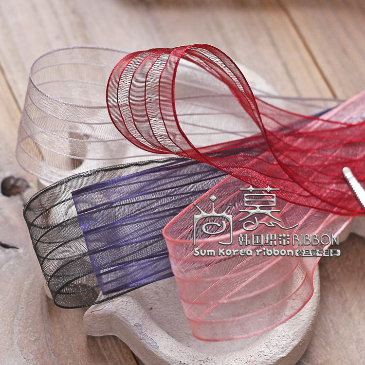 100yards 25mm 40mm fringe edge mesh stripes ribbon for hair bow diy accessories bouquet flower packing