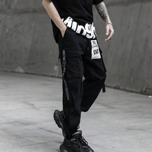2020 HOT Ribbons Printed Street  Fashion Mens Joggers Cargo Pants Hip Hop Casual Pencil Trousers Streetwear
