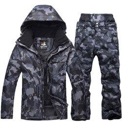 Nuevo traje de esquí de camuflaje para hombre, chaqueta de Snowboard impermeable transpirable, pantalones de nieve de invierno, trajes para hombre, juegos de esquí y Snowboard