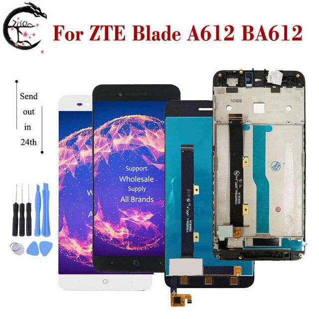 """5 """"LCD עם מסגרת עבור ZTE להב A612 BA612 LCD תצוגת מסך מגע חיישן Digitizer עצרת A612 מלא תצוגה החלפה"""
