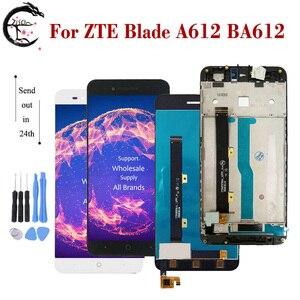 """Image 1 - 5 """"LCD ile çerçeve için çerçeve ile ZTE Blade A612 BA612 lcd ekran ekran dokunmatik sensör sayısallaştırıcı meclisi A612 tam ekran değiştirme"""