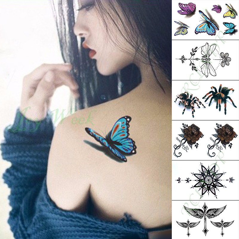 Waterproof Temporary Tattoo Sticker Blue Butterfly Spider Fake Tatto Hand Arm Foot Flash Tatoo For Kid Girl Men Women