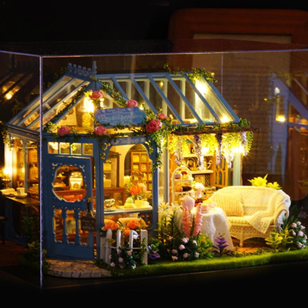 DIY Doll House Cabin Rose Garden Tea House Handmade Model Wooden Furniture Kit With LED Toys For Children Christmas Gifts