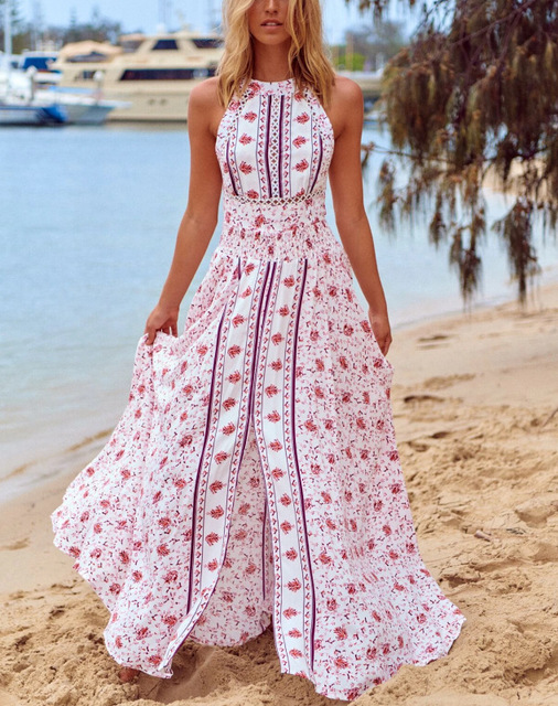 Z-ZOUX Women Dress Sleeveless Backless Bohemia Dresses Sexy Long Print Floral Maxi Dress High Waist Split Long Floral Dresses
