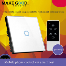 цена на MakeGood Crystal Glass Panel 1 Gang 1 Way Touch Screen Light Switch , Wall Switches with blue LED indicator for EU Standard
