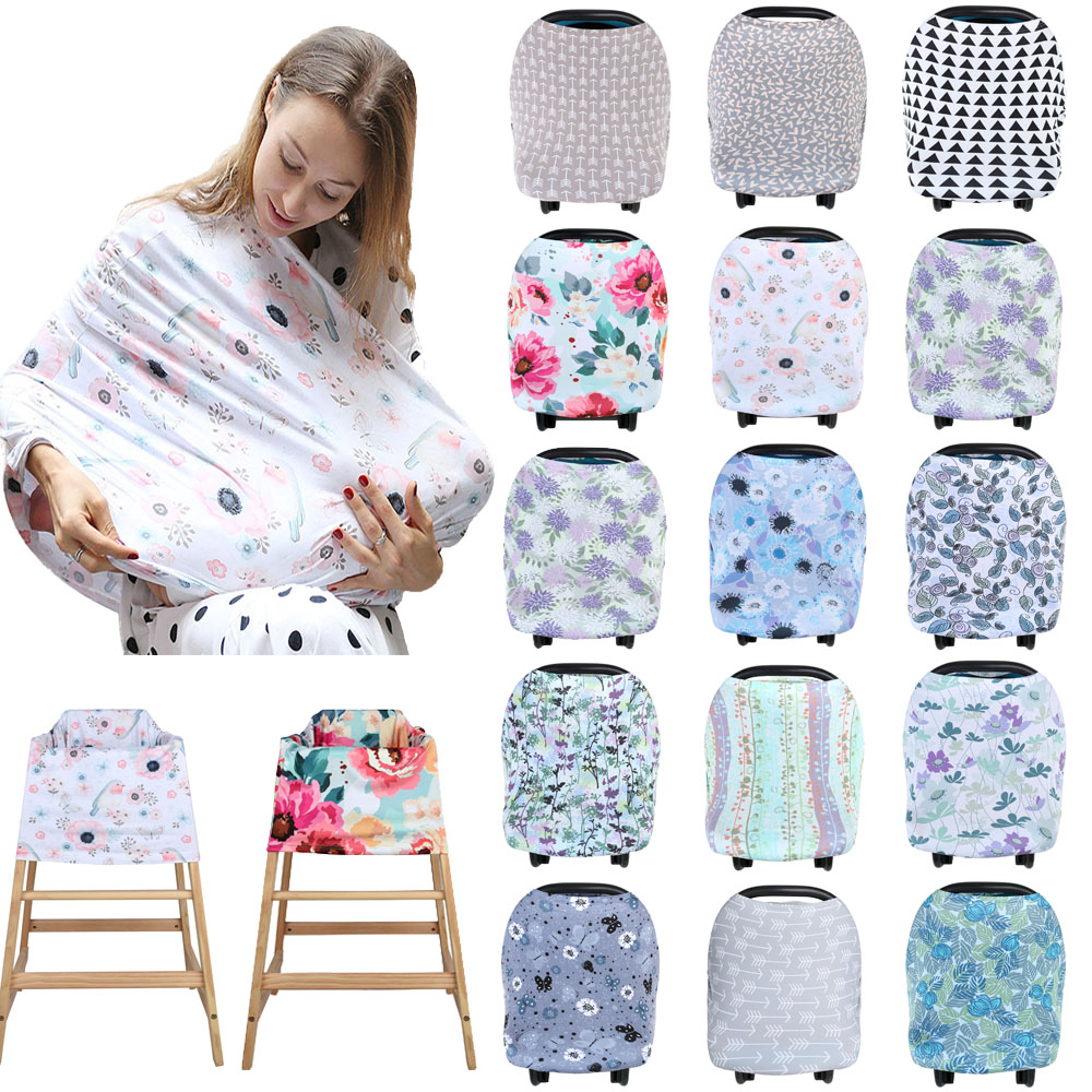 Multifunctional 5 in 1 Baby Breastfeeding Cover Car Seat Cover Canopy Shopping Cart Cover Trendy Scarf Breathable Nursing Cover