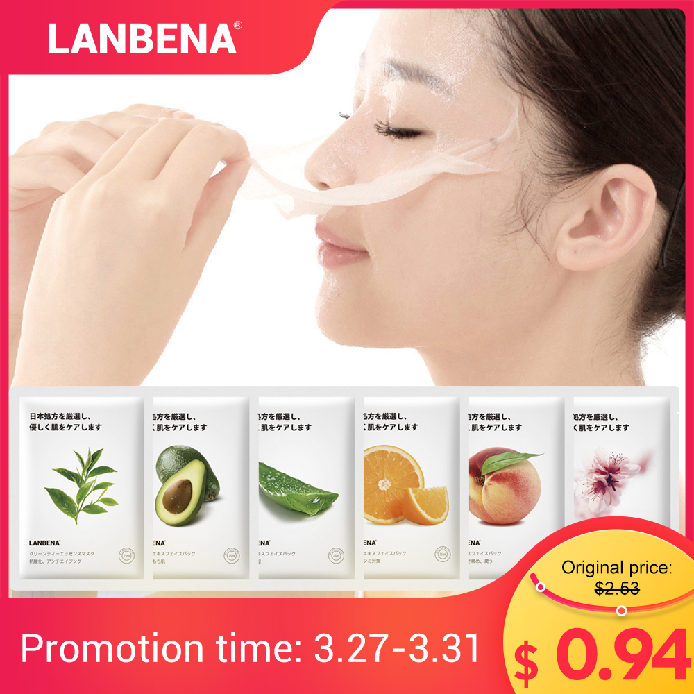 LANBENA Fruit Facial Masks Peach Avocado Aloe Cherry Blossom Face Mask Skin Care Whitening Moisturizing Anti-Aging Sheet Mask