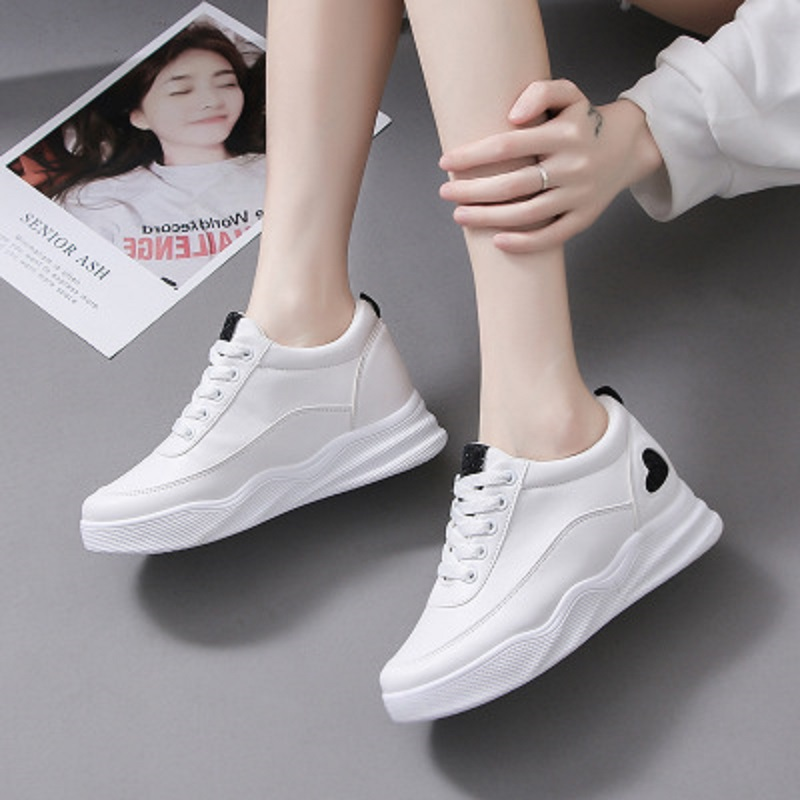2019 summer white shoes female high version new tie with platform casual fashion wild shoes