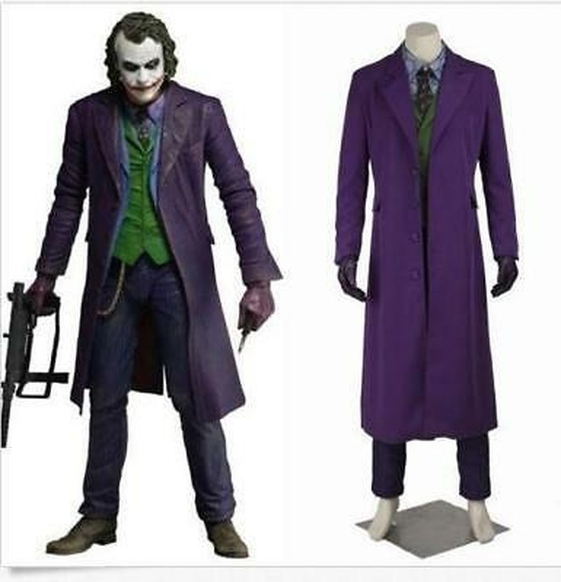 Hot Cosplay Mens Knight Rise Joker Movie Costume Halloween Long Vogue Cloak New Custom Made One Sets 6Pcs Plus Size