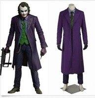 Hot Cosplay Mens Knight Rise Joker Movie Costume Halloween Long Vogue Cloak New Custom Made One Sets 6Pcs Plus Size