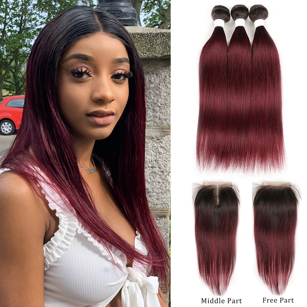 T1B/99J Ombre Human Hair Bundles With Closure 4x4 KEMY HAIR Brazilian Straight Hair Weave Bundles Non Remy Hair Extension