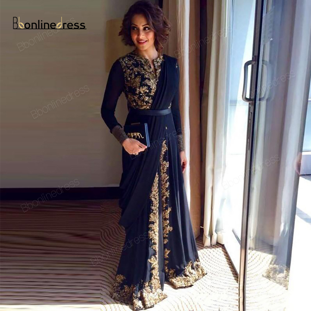 Black Moroccan Kaftan Evening Dresses Gold Lace Appliques Women Mother Dress Arabic Muslim Special Occasion Dresses