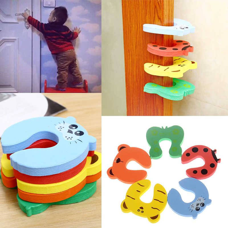 1PC Cute Baby Door Stopper Safe Finger Guard Protector Lock Pinch Home Bedroom Toilet lock Safety Guard Door Stops Holder Lock