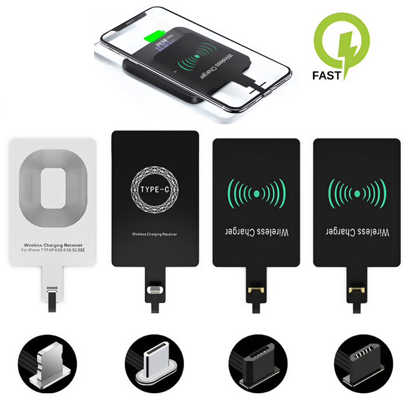 Qi Wireless Charging Kit Transmitter Charger <font><b>Adapter</b></font> Receptor Receiver Pad Coil Type-C Micro USB kit for apple <font><b>iPhone</b></font> Connector image