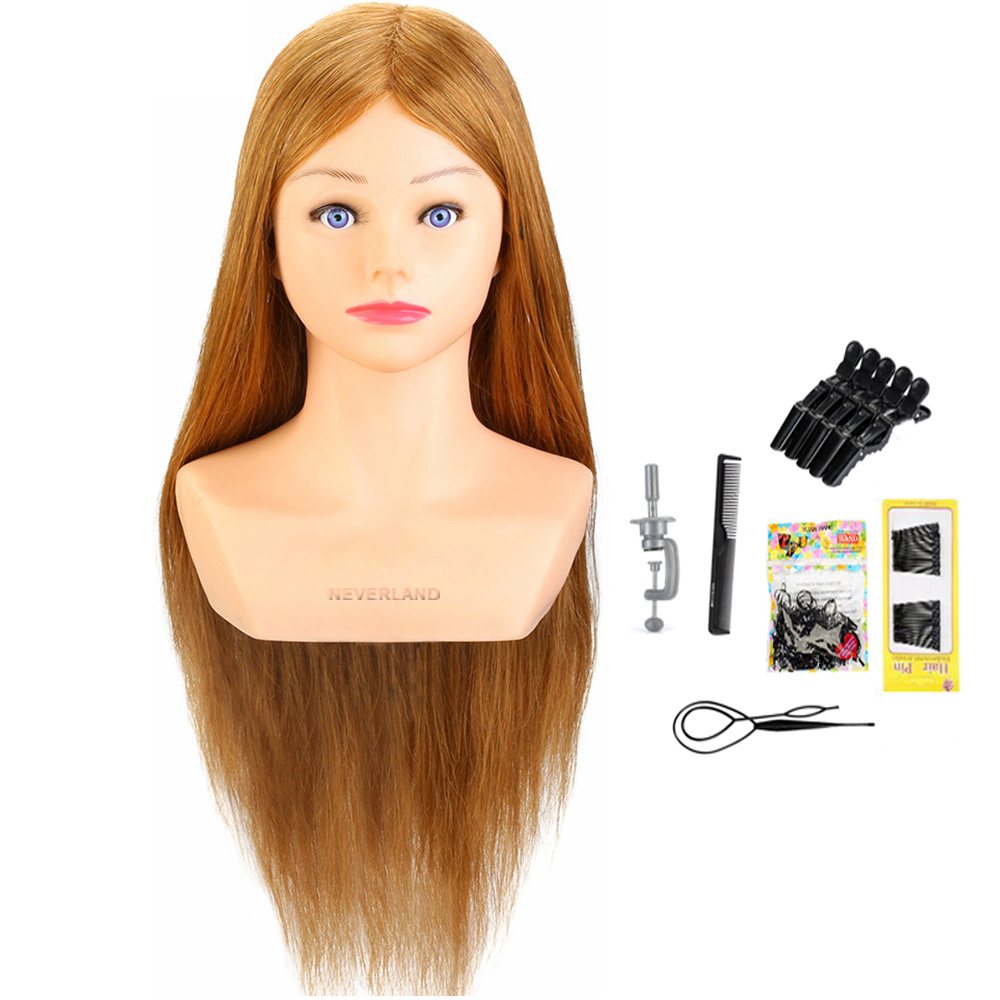 NEVERLAND Blonde 24'' 100% Real Animal Hair Training Head With Shoulders Hairdressing Practice Head Mannequin For Hairdressers