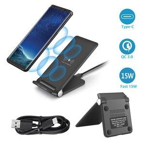 Image 5 - 15W szybka bezprzewodowa podkładka ładująca składany 10W Qi ładowania stojak na iPhonea 11 Pro Max XS XR X 8 Samsung S10 S9 s8 Plus uwaga 10 9
