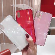 Glass Rhinestone NEW Fashion Girl Laser Aurora Cases For Apple iPhone XR X XS Max 6 6S 7 8 Plus Cute