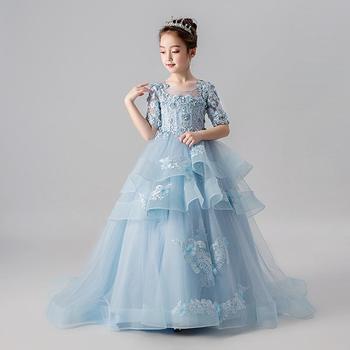 New Flower Girl Dresses Appliques Ball Gown Half Sleeve O-neck First Communion Dresses Elegant Girl's Wedding Long Vestidos K267