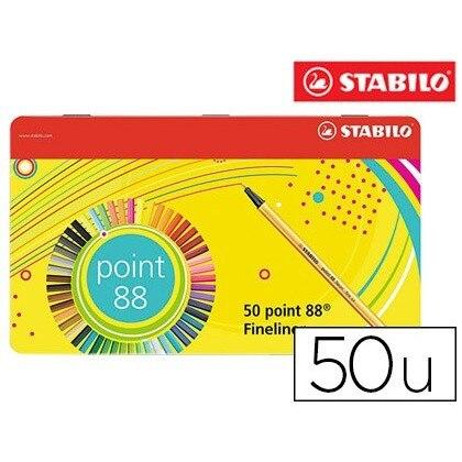 Marqueur STABILO fibre NIB 0,4 MM pointe 88 boîtier métal 50 couleurs assorties