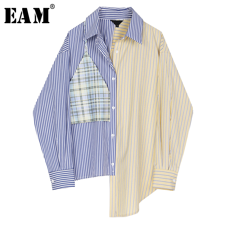 [EAM] Women Blue Striped Split Big Size Blouse New Lapel Long Sleeve Loose Fit Shirt Fashion Tide Spring Autumn 2020 1R549