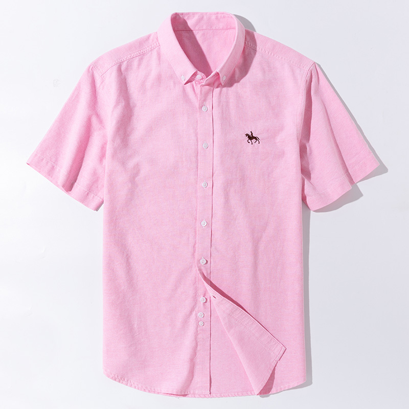 Summer Short Sleeve Turndown Collar Regular Fit New Oxford Fabric 100% Cotton Excellent Comfortable  Business Men Casual Shirts
