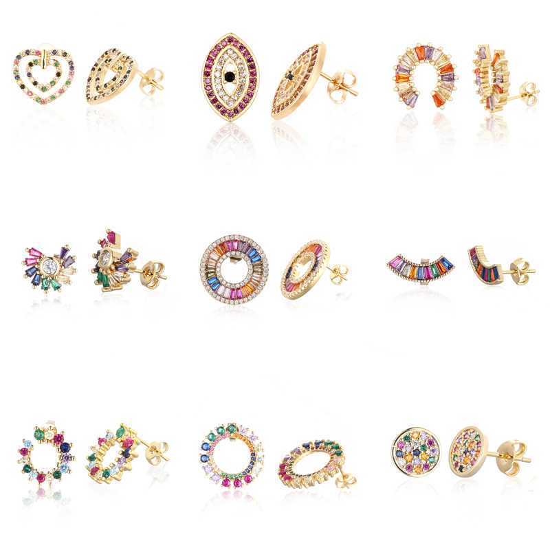 women's gold cz rainbow stud earring colorful crystal earrings heart eye earring rainbow jewelry accessories gift for women