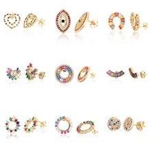 Ouro feminino brinco do parafuso prisioneiro arco-íris cobre zircônia brincos coração olho redondo borboleta brinco jóias acessórios para mulher