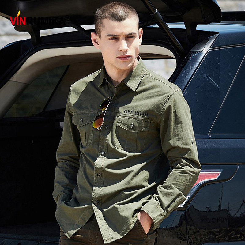 2020 Spring Autumn Men's High Quality Military Casual 100% Cotton Army Green Shirts Man Khaki Long Sleeve Shirt Dark Blue Tops