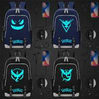 Blue Luminous Fashion Cute Cartoon Pokemon Pikachu USB Boy Girl Book School bag Women Teenagers Men Laptop Backpack Packsack
