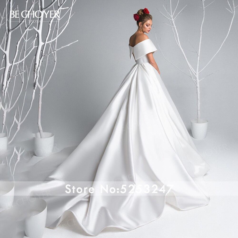 Image 2 - Simple Off Shoulder Wedding Dress BE CHOYER EL04 Satin Zipper A Line Court Train Princess Bride Gown Customized Vestido de NoivaWedding Dresses   -