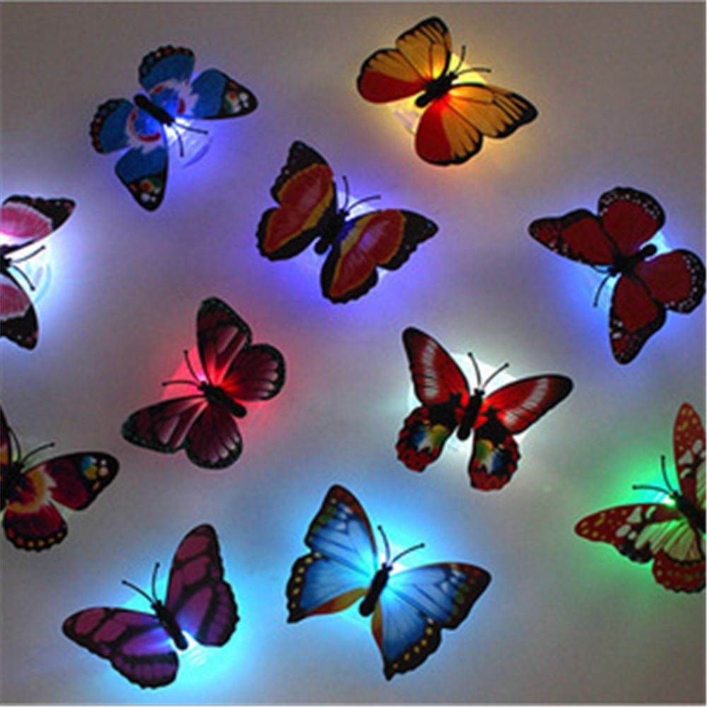 5 Pcs/lot New Arrival Beautiful Butterfly LED Night Light Lamp With Suction Pad For Christmas Wedding Decoration Night Lamp