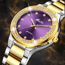 MISSFOX Frauen Uhren Marke Luxus Uhr Frauen Diamant Mode Lila Genf 18k Gold Damen Uhr Weibliche Quarzuhr Stunden